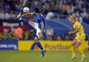 """30 juin 2006, ZAMBROTTA in action during the World Cup 2006 quarter final match between Italy of and Ukraine played at """"Arena"""" stadium in Hamburg. Photo Claudio Villa/Grazia Neri Agency."""